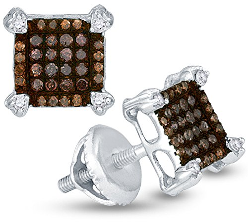 10K White Gold Princess Square Shape Halo Studs Prong Set Chocolate Brown & White Diamond Earrings (1/4 cttw.)