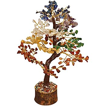YATHABI Seven Chakra Gemstone Tree Feng Shui Bonsai for Crystal Energy Generator Chakra Balancing Reiki Healing EMF Protection Spiritual Meditation Luck Money Home Decor Size:- 10-12 Inch