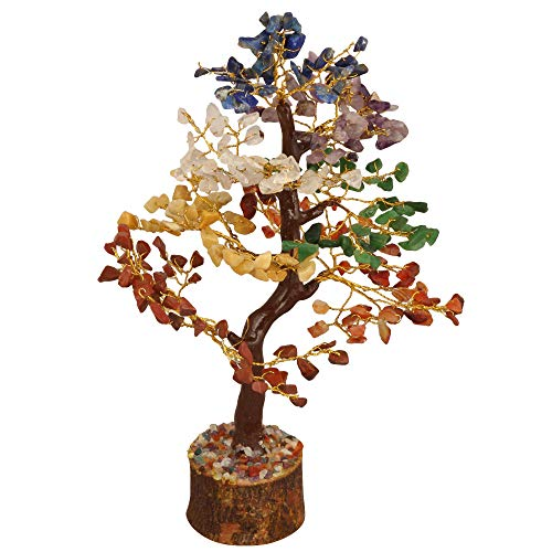 FASHIONZAADI Seven Chakra Natural Stone Feng Shui Bonsai Money Tree for Chakras Balancing Good Luck EMF Protection Healing Table Décor Health Prosperity Size 10-12 inch (Golden Wire)