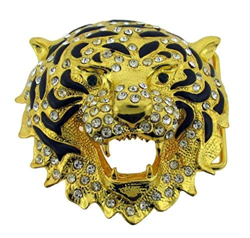 Lion Tiger Belt Buckle Animal Golden Rhinestone Men Women Girly Western New Ladies ()