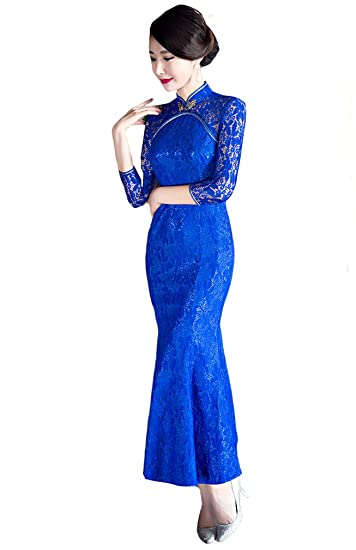 cfb7830a3 ACVIP Women's Lace 3/4 Sleeve Fishtail Evening Party Chinese Dress Gown  Cheongsam (UK