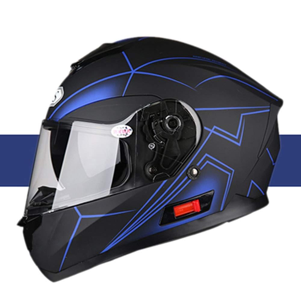 HYH ヘルメットオートバイフルフェイスヘルメットブルートゥース電気自動車四季夏ヘルメット人格クール - ブラックブルー/ストライプ - 人格パターン いい人生 (Size : L) Large  B07S59WBZ8