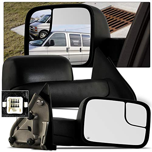 MAPM Towing Mirrors for 02-08 Dodge Ram 1500 03-09 Dodge Ram 2500 3500 Pickup Truck Power Heated Tow Folding Side View Black Mirror Pair Set: Right Passenger and Left Driver ()