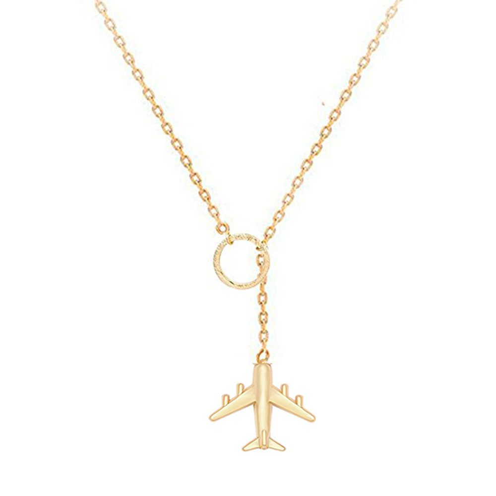 NOUMANDA Charm Airplane Y Necklace Trendy Circle Lariat Necklace Perfect Gift for Traverlers (gold)