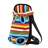 eBelken Front Style Pet Backpack Chest Dog Carrier Pack Bag with Dog Legs Out(Rainbow color, L)