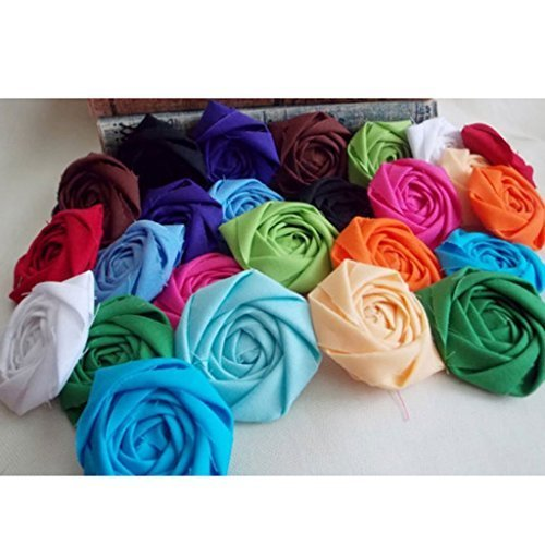 DSB 50pcs Handmade Mini Fabric Roses Flowers for DIY Headbands Clips