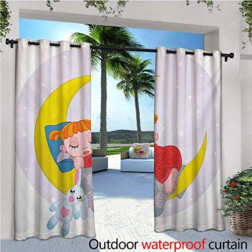 homehot Cartoon Balcony Curtains Girl on Moon with Her Teddy Bear Sleeping Luna Night Dream Cartoon Artful Outdoor Patio Curtains Waterproof with Grommets W120 x L108 Red Yellow Grey -