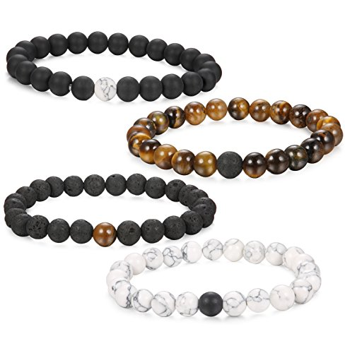 FUNRUN+JEWELRY+4PCS+8mm+Distance+Bracelet+for+Men+Women+Beaded+Natural+Stone+Couples+His+and+Hers+Bracelets+Elastic