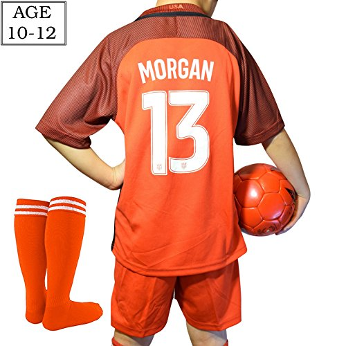 SilverDel Alex Morgan #13 Top Quality Jersey Shorts and Socks Set For Girls Ages 10-12, New 2017-2018 USA National Soccer Team Uniform For Kids/Youth Size Medium 26