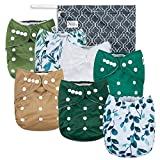 Sage and Sea Baby Cloth Pocket Diapers 7 Pack, 7 Bamboo Inserts, 1 Wet Bag by Nora's Nursery