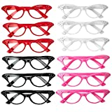 Retro Cat Eye Glasses with Rhinestones - 12 Pack 1950's Style Unisex Plastic Eyewear - Gift, Costume Props, Party Favors, Class Rewards, Getaway Accessories for Kids and Adults Alike