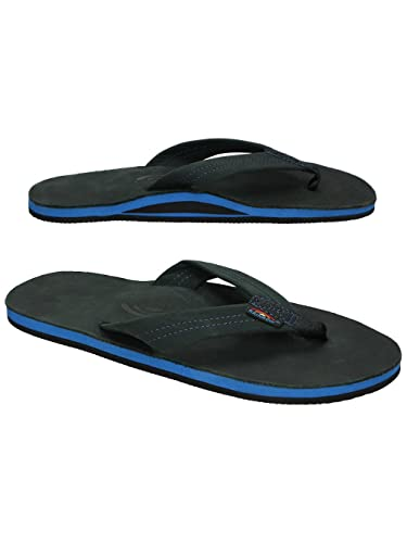 669845a59550 Rainbow Sandals Men s Single Layer Premier Leather Black w Blue Midsole