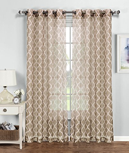Window Elements Quatrefoil Printed Sheer Extra Wide 54 X 84 In. Grommet  Curtain Panel, Beige/White Part 9
