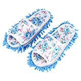 Washable Mop Slippers Detachable Microfiber House Slippers Dust Dirt Hair Cleaner Multi-Function Floor Cleaning Shoes Cover(Sky Blue)