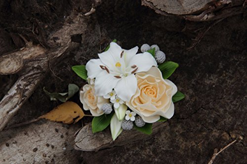 lily hair accessory, lily cake topper, cold porcelain, lily barrette, rustic cake decor, headband with lily, rose gift, birthday women gift, birthday gift, bridesmaids gift