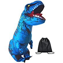 JF Deco Adult Inflatable T-Rex Dinosaur Costume Party Halloween Funny Costumes Blue with Backpack