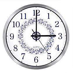 Concise Fashion Chinese Blue and White Porcelain Style Design Bedroom/Living Room Round 12-inch Ultra Mute Silent Quartz Movement Baking Paint Metal Frame Wall Clock HW98 (Silver)