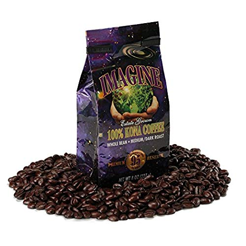 Kona Coffee Beans by Imagine - 100% Kona Hawaii - Medium Dark Roast Whole Bean 4 oz - Blue Coffee Horse