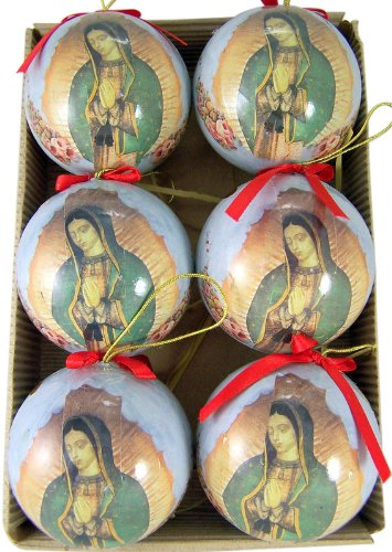 OL Our Lady of Guadalupe with Roses 3,inch Decoupage Christmas Ornament