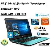 "HP Flagship 15.6"" HD Touchscreen Laptop Computer, 7th Gen Intel Dual Core i5-7200U 2.50 GHz, 12GB DDR4 Memory, 1TB HDD, USB 3.1, DVDRW, HDMI, HD Webcam, Bluetooth, Windows 10 Home"