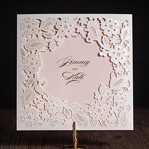 Jofanza WISHMADE Laser Cut Square Wedding Invitations Cards Kits with Tri-fold Pink Inner Sheet Printed Cardstock for Bridal Shower Engagement Birthday Baby Shower Quinceanera (White, 50 - Ivory Stationery Recycled