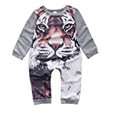 Lovely Newborn Kids Baby Boy Girl Infant Tiger Print Jumpsuit Rompers (Size:12M, Gray)