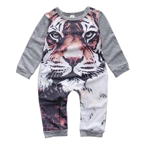 [Lovely Newborn Kids Baby Boy Girl Infant Tiger Print Jumpsuit Rompers (Size:12M, Gray)] (Denim Romper Costume)