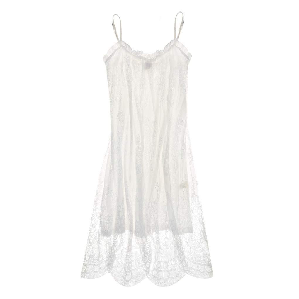 White Pajamas Women Sweet Style Sexy Sling Nightdress Cotton Lace Home Nightdress (color   White, Size   L)