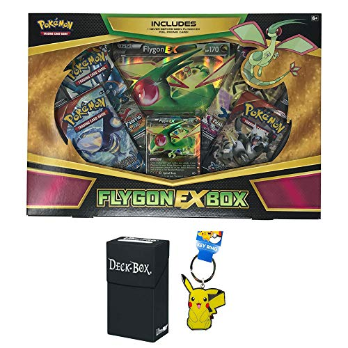 - Pokemon Flygon EX Box with Flygon EX Pokemon Card, Oversized Jumbo Flygon EX Card, 4 Factory Sealed Pokemon Booster Packs, Pikachu Keychain and Ultra Pro Deck Box Bundle