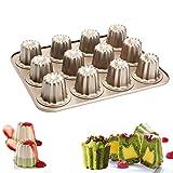 Cannele Mould, Ezeso 12-Cavity Canneles de Bordeaux Molds Nonstick Carbon Steel Canneles Baking Pan Cake Bakeware