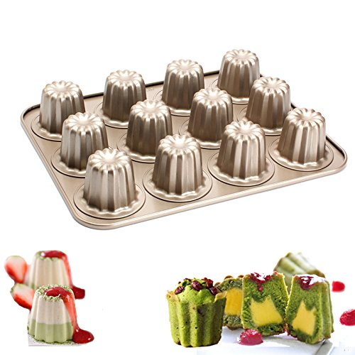 Ezeso 12-Cup Canele Mold - Canneles de Bordeaux Mold - Non Stick Carbon Steel Caneles Baking Pan Cannele Mould
