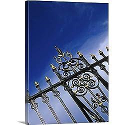 GREATBIGCANVAS Clock Bridge Wrought Iron Fence, Chester, Cheshire, England Canvas Wall Art Print, 17x24x1.5