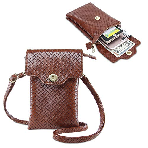Purse Shoulder Small Brown Leather with Girls Bag Women Cell Phone Strap for Crossbody BZx0nqE5Cw