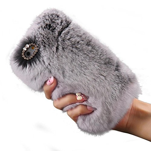 Apple iPhone 6 6s Case, Momo Casier Slim Fit Bling Diamond Luxury Winter Soft Warm Faux Rabbit Fur Fuzzy Plush with Crystal Cute Bowknot Protective Back Cover for Girls Xmas Gift, Gray