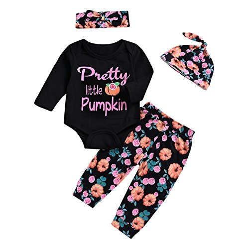 Halloween Baby Set Floral Romper + Long Pants + Hat + Headband Toddler Jumpsuit (6-12M)]()