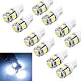 Changeshopping 10pcs T10 Wedge 5-SMD 5050 Xenon LED Light bulbs 192 168 194 W5W 2825 158 White