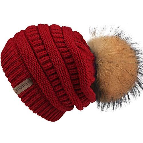 FURTALK Winter Fur Pom Beanie Hat Warm Oversized Chunky Cable Knit Slouchy Beanie Hats for Women