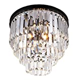 Modern Crystal Bar Lantern-Shaped Raindrop Chandelier Lighting Flush Mount LED Ceiling Light Fixture for Dining Room Bedroom Livingroom Review