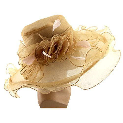 Vakabva Church Derby Hats Women Church Kentucky Derby Gold Hats for Fascinator Bridal Tea Party Wedding Hat by Vakabva