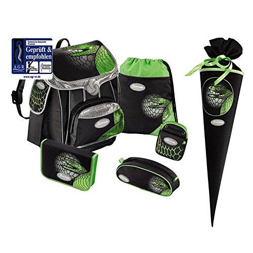Sammies Premium Schulranzen Set 5 tlg. Green Mamba + kostenlose Schultüte