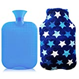 1 Liter Hot Water Bottle, Ease Aches and Pains Aid Comfort Sleep, Light Blue Bottle + Cute Coral Fleece Cover- Star