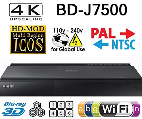 SAMSUNG J7500 - 2K/4K Upscale - 2D/3D - Wi-Fi - Dual HDMI - Region Free Blu Ray Disc DVD Player - PAL/NTSC - USB - 100-240V 50/60Hz for World-Wide Use & 6 Feet Multi System HDMI Cable