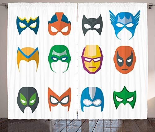 Ambesonne Superhero Curtains, Hero Mask Female Male Costume Power Justice People Fashion Icons Kids Display, Living Room Bedroom Window Drapes 2 Panel Set, 108 W X 108 L inches, Multicolor