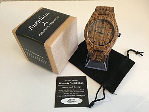 Burnham Wooden Watch - ARG001 Stylish Mens Wood Watches [Solid Natural Wood Grain] Upgraded Swiss Quartz Movement and Date [Easy set and adjust wood watch strap] Fine Crystal Face And Stainless Clasp by Burnham (Image #2)