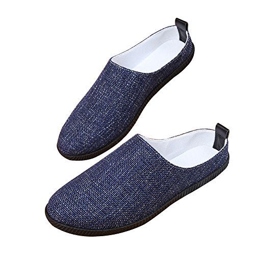 Santimon Mens Womens Anti Slip Mules Slippers Breathable Fabric Light Sneakers Closed Toe Loafers Darkblue 7be1q0A