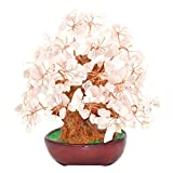 7 Inch Pink Crystal Money Tree Feng Shui Natural Rose Quartz Gem Stone Money Tree for Office Home table Decoration
