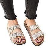 Syktkmx Womens Flat Slip on Double Strap Buckle Cork Glitter Platform Slides Sandals (12 B(M) US, 1-Gold)