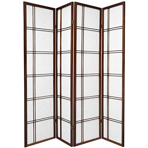 Oriental Furniture 6 ft. Tall Double Cross Shoji Screen - Walnut - 4 Panels