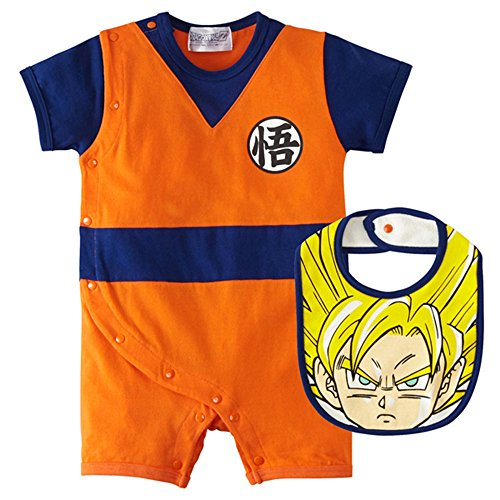 Dragon Ball Z Design Baby Romper + Bib Set (L, Orange) ()