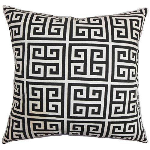 The Pillow Collection Paros Greek Key Black White Down Filled Throw